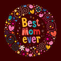 Happy mothers day retro card best mom ever Stock Photos