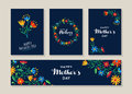 Happy mothers day set of flower labels and cards