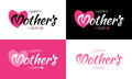 Happy Mothers Day Vector Lettering Set with heart shape and flower.