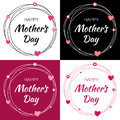 Happy Mothers Day Vector Lettering Set with heart shape and flowers. Mother`s Day Card with scribble circle frame