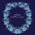 Happy mothers day, Watercolor llustration with wreath of Flowers forget-me-nots and text