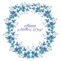 Happy mothers day, Watercolor llustration with wreath of Flowers forget-me-nots and text on a white background