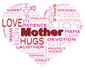 Happy mothers day word cloud illustration in heart shape silhouette isolated on white background Royalty Free Stock Image