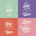 Happy mothers and fathers day over colorful background vector illustration Stock Photo