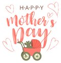 Happy Mothers s Day cartoon card with trendy big limbs illustration. Mother with baby buggy. Woman with baby carriage Royalty Free Stock Photo