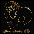Happy mothers s day silhouette of a mother and child with golden outline happy mothers day celebration i have created card in Stock Images