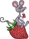 Happy mouse eating a strawberry
