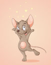 Happy mouse illustration of dancing under the stars Royalty Free Stock Images