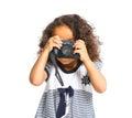Happy mulatto girl with camera Stock Image