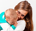 Happy mum with the baby young Royalty Free Stock Images