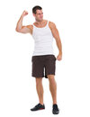Happy muscular man rejoicing success Stock Photos