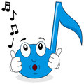 Happy Music Note Character Whistling