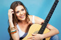 Happy musician woman portrait with guitar positive emotional Royalty Free Stock Photos