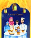 Happy Muslim family with two children and decorations Ramadan Kareem Iftar party celebration, hand drawn watercolor illustration
