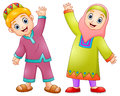 Happy muslim kids cartoon for celebrate eid mubarak