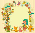 Happy nature frame with a girl walking between animals and flowers Royalty Free Stock Images
