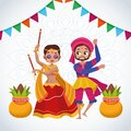 Happy navratri celebration card with couple dancing and garlands Royalty Free Stock Photo