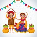 Happy navratri celebration card couple dancing and playing drum with garlands Royalty Free Stock Photo