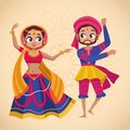 Happy navratri celebration card with couple dancing Royalty Free Stock Photo