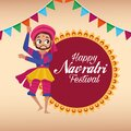 Happy navratri celebration card lettering with man dancing Royalty Free Stock Photo