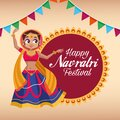 Happy navratri celebration card lettering with woman dancing and garlands in lace Royalty Free Stock Photo