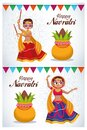 Happy navratri celebration card letterings with girls dancing Royalty Free Stock Photo