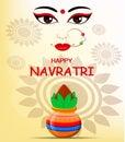 Happy Navratri vector illustration. Contour of Maa Durga Face an Royalty Free Stock Photo