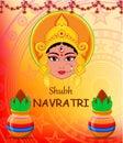 Happy Navratri vector illustration. Maa Durga Face and pots with Royalty Free Stock Photo