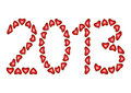 Happy New Year 2013 made from hearts Royalty Free Stock Images