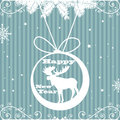 Happy new year abstract colorful background with blue stripes snowflakes fir branches and a moose decoration hanging from above Stock Image