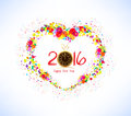 Happy new year 2016. Abstract colorful heart shape background