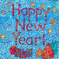 Happy New Year: abstract mosaic greeting card design with text Stock Photography