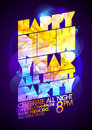 Happy new year all night party calligraphic design art s disco style Royalty Free Stock Images