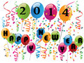 Happy new year background with balloons and confetti Royalty Free Stock Photos