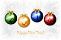 Happy new year background with colorful christmas ba vector baubles Stock Images