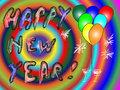 Happy new year background a funny with balloons champagne and fireworks Royalty Free Stock Images