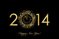 Happy new year background with gold clock vector Royalty Free Stock Photography