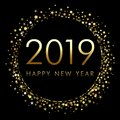 2019 Happy New Year background with number and golden glitter.