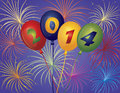 Happy new year balloons fireworks illustration with display background Stock Photo