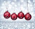 Happy new year 2015 with balls xmas Royalty Free Stock Photo