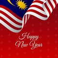 Happy New Year banner. Malaysia waving flag. Snowflakes background