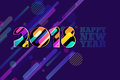 Happy New Year 2018 banner. Multicolor numbers with motion dynamic texture on dark blue background.