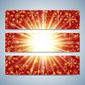 Happy New Year Banners. Red background with golden snowflakes. Modern design vector template Royalty Free Stock Photo