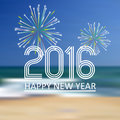 Happy new year 2016 on the beach color background eps10