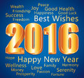 2016 Happy New Year. Best wishes. Blue and gold greeting card. Royalty Free Stock Photo