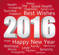 2016 Happy New Year. Best wishes. Red and silver card. Royalty Free Stock Photo