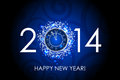 Happy new year blue background with clock vector Stock Photo