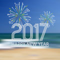 Happy New Year 2017 On Blue Be...