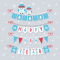 Happy New Year buntings and decoration with two cute owls