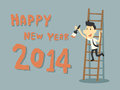 Happy new year businessman paint Royalty Free Stock Photos